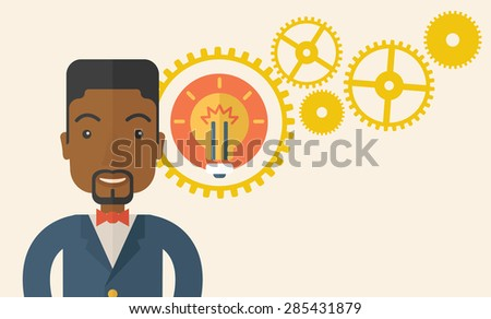 An african company officer with gear have a strong marketing strategy to share in company. Leadership concept.  A Contemporary style with pastel palette, soft beige tinted background. Vector flat - stock vector