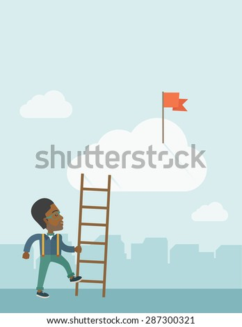 An african man standing while holding the career ladder to get the red flag in the cloud. Career, success concept.  A contemporary style with pastel palette soft blue tinted background with - stock vector