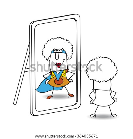 An Afro girl looks in the mirror. She sees a superhero in the reflection. It's a metaphor of the power which is in each person - stock vector