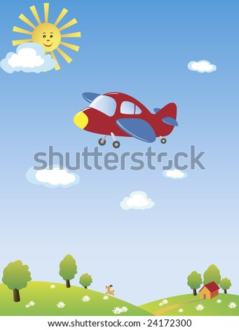 An airplane flying high in the blue sky with the yellow sun and blue clouds - stock vector
