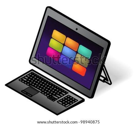 An all-in-one desktop touchscreen computer with a compact wireless keyboard. Shown with a kick-stand.