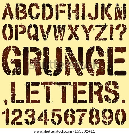 An Alphabet Set of Grunge Stencil Letters and Numbers - stock vector