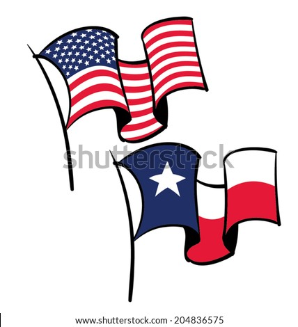 An American and Texas flag flying in the wind. - stock vector