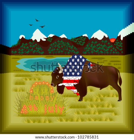 An american buffalo celebrates the Independence Day with a grass and flower festive cake, wearing a special map-flag, in the middle of the prairie - stock vector