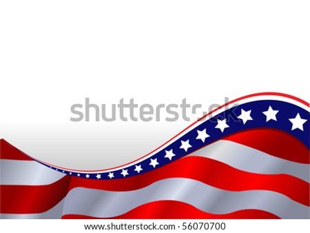 An American flag horizontal background - stock vector