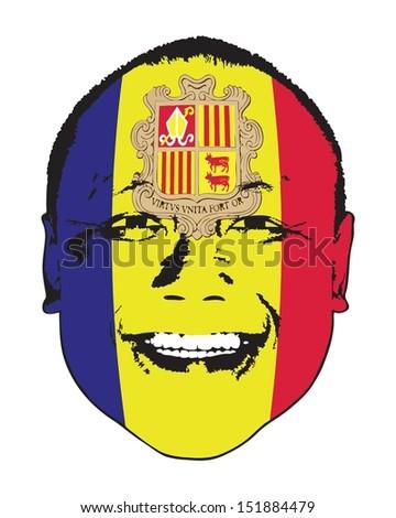An Andorra flag on a face, isolated against white.  - stock vector