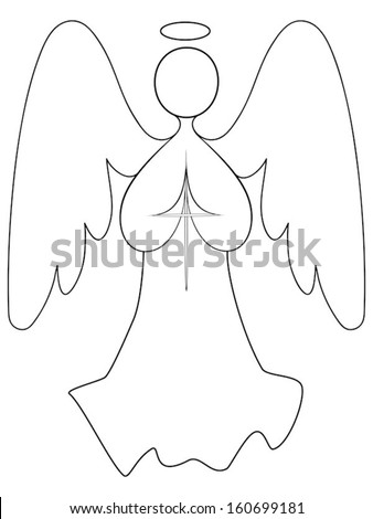An angel with wings spread, hands together in prayer, holding a cross; a line drawing. - stock vector