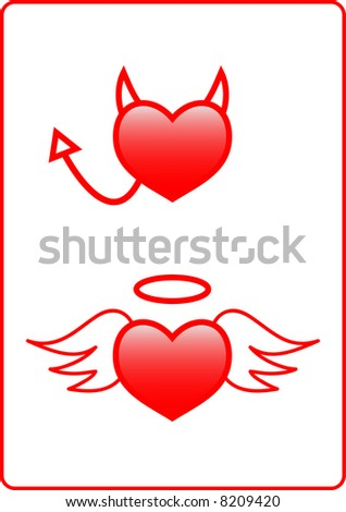 An angelic heart and an evil heart design.