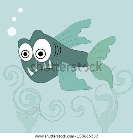 an angry blue fish in the ocean with big eyes - stock vector