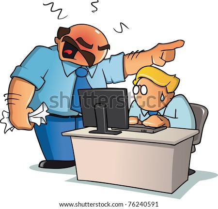 An angry boss yelling to his employee behind an office desk. - stock vector