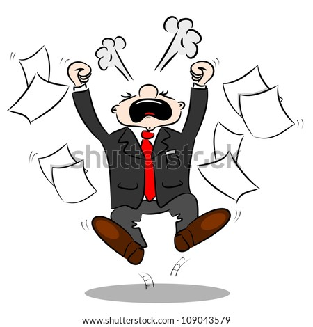 An angry cartoon businessman with blank paper flying around - stock vector