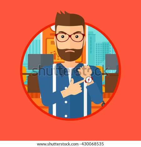 An angry hipster man with the beard standing in the office and pointing at wrist watch. Vector flat design illustration in the circle isolated on background.