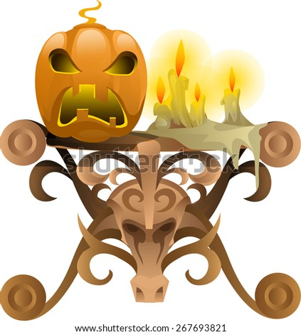 an angry mask of carved pumpkins on wooden table  - stock vector
