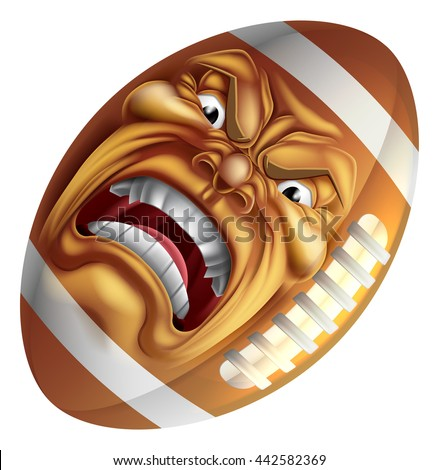An angry mean looking American football ball sports cartoon mascot character - stock vector