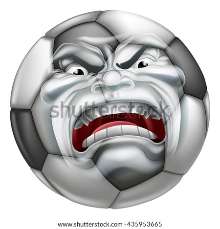An angry mean looking Soccer Football ball sports cartoon mascot character - stock vector