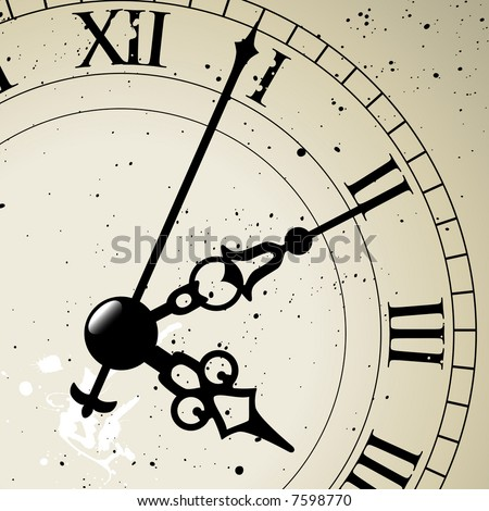 An antique clock face the whole face is available just hidden behind a mask. - stock vector