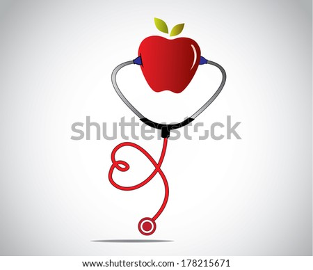An apple a day keeps the doctor away concept design vector illustration unusual artwork : red apple with stethoscope in the shape of a heart or love with bright white background - stock vector