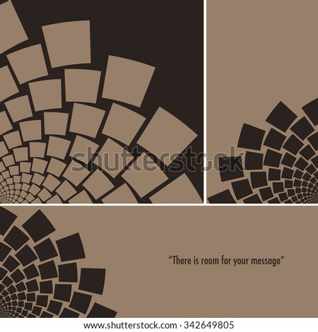 An arc of a stylized flower, or a whirlpool of flying paper, set in 3 different formats, square, bookmark, and banner, in a black and coffee palette - stock vector