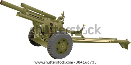 An Army Field Gun isolated on white