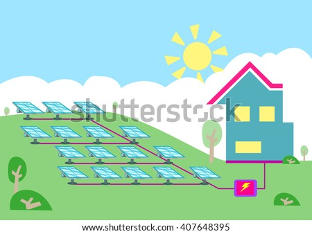 An array of solar powered cell converting sun energy  into electricity for homes. Editable Clip art. - stock vector