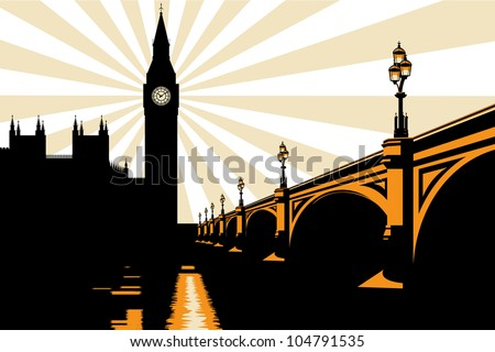 An Art Deco style illustration of Big Ben and Westminster Bridge in London. - stock vector