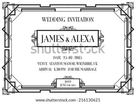 an art deco style invitation card - stock vector