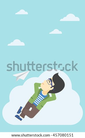 An asian businessman lying on a cloud and looking at flying paper plane. Businessman relaxing on a cloud. Vector flat design illustration. Vertical layout.