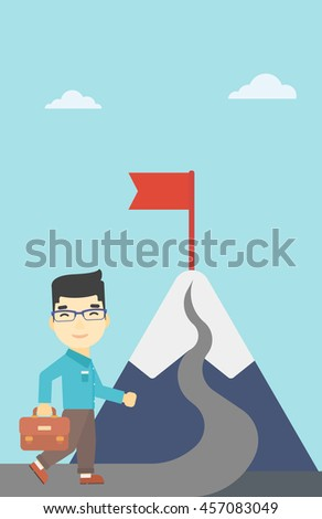 An asian businessman standing at the foot of the mountain. Businessman walking on a road leading to the flag on the top of the mountain. Vector flat design illustration. Vertical layout.