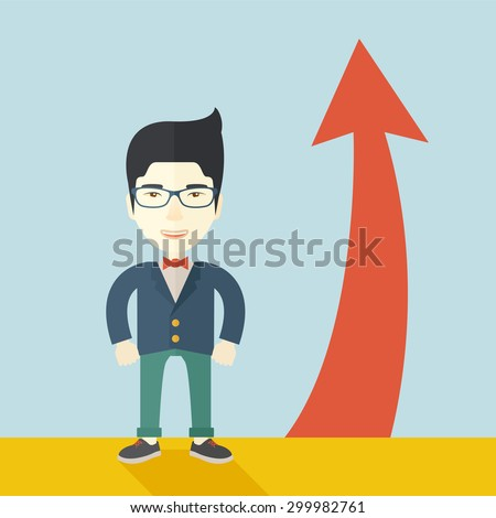 An asian businessman standing beside the red arrow pointing up. Successful business concept. A Contemporary style with pastel palette, soft blue tinted background. Vector flat design illustration - stock vector