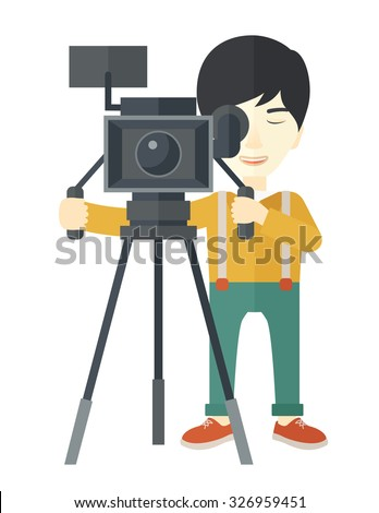 An Asian cameraman looking through movie camera on a tripod vector flat design illustration isolated on white background. Vertical layout. - stock vector
