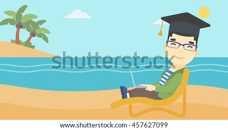 An asian happy graduate lying in chaise long. Young man in graduation cap working on laptop. Graduate on a beach. Vector flat design illustration. Horizontal layout. - stock vector