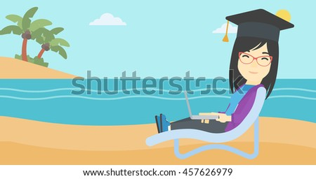 An asian happy graduate lying in chaise long. Young woman in graduation cap working on laptop. Graduate on a beach. Vector flat design illustration. Horizontal layout. - stock vector