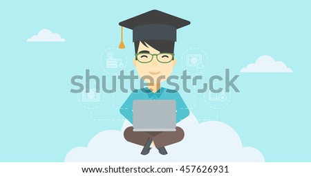 An asian happy graduate sitting on the cloud. Graduate working on laptop. Education technology and graduation concept. Vector flat design illustration. Horizontal layout. - stock vector
