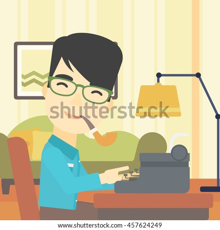 An Asian Journalist Writing Article On A Vintage Typewriter The Background Of Living Room