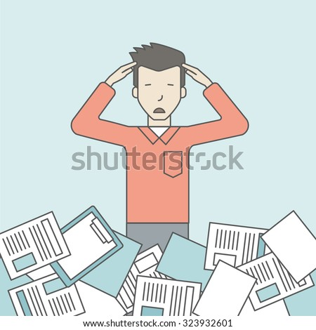 An asian man has a lot of works to do with papers in front of him. Disappointment concept. Vector line design illustration. Square layout. - stock vector