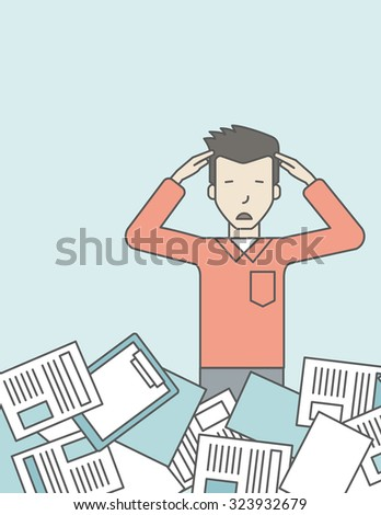 An asian man has a lot of works to do with papers in front of him. Disappointment concept. Vector line design illustration. Vertical layout with a text space. - stock vector