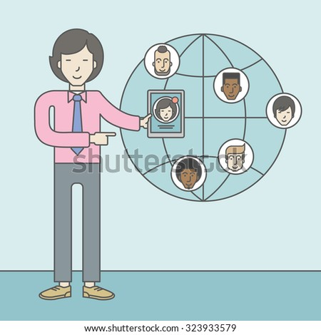 An asian man standing holding tablet with social media. Vector line design illustration. Square layout. - stock vector