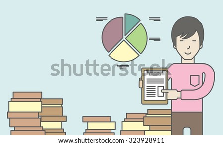 An asian man standing inside office showing his complete paperwork. Reporting concept. Vector line design illustration. Horizontal layout with a text space. - stock vector