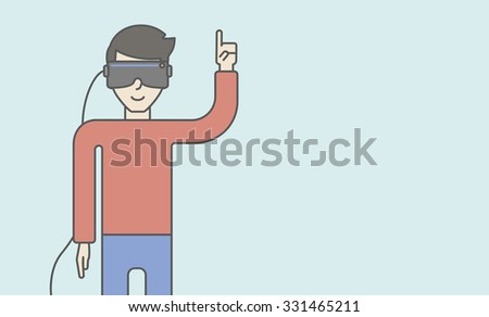 An asian man wearing a virtual reality headset with a raised hand. Vector line design illustration. Horizontal layout with a text space for a social media post. - stock vector