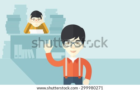 An asian office clerk has a lot of works to do with those papers infront of him, problem on how to meet the deadline of his report. Disappointment concept. A Contemporary style with pastel palette - stock vector
