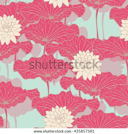 an asian style lotus pond seamless pattern in blue, pink and ivory shades