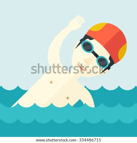 An asian swimmer wearing cap and glasses  training in water vector flat design illustration. Square layout.