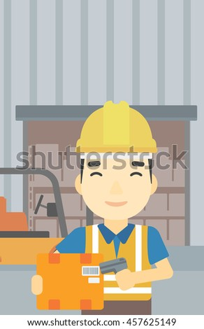 An asian warehouse worker scanning barcode on box. Warehouse worker checking barcode of box with a scanner. Man in hard hat with scanner. Vector flat design illustration. Vertical layout. - stock vector