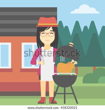 Family Picnic Bbq Party Food Barbecue Stock Vector - Backyard bbq party cartoon