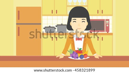 An asian woman standing in front of table full of fresh fruits in the kitchen. Woman with plate full of fruits. Healthy food concept. Vector flat design illustration. Horizontal layout. - stock vector