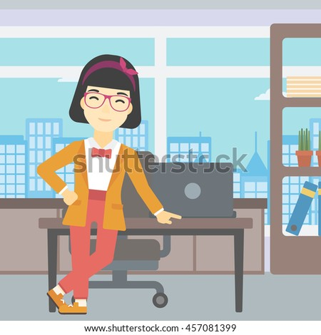 An asian  young business woman leaning on a table in the office. Young smiling business woman standing in the office. Vector flat design illustration. Square layout. - stock vector