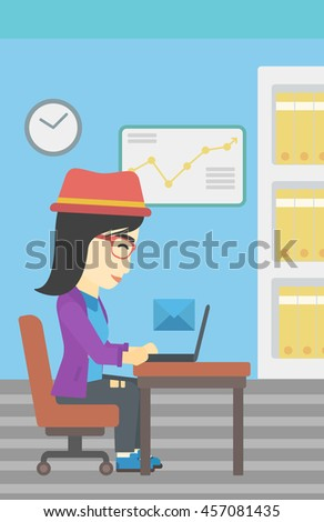 An asian  young business woman working on her laptop in office and receiving or sending email. Business technology, email concept. Vector flat design illustration. Vertical layout. - stock vector