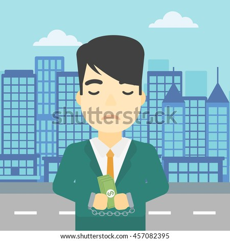 An asian  young businessman in handcuffs with money in hands on the background of modern city. Businessman handcuffed for crime. Vector flat design illustration. Square layout. - stock vector
