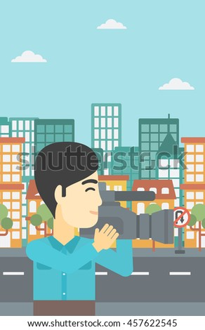An asian young cameraman looking through movie camera. Man with professional video camera in the city. Cameraman shooting outdoor. Vector flat design illustration. Vertical layout. - stock vector