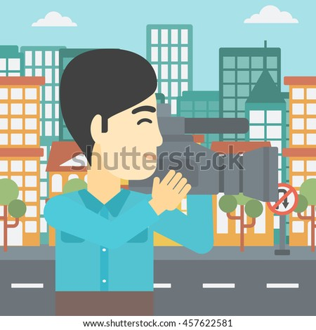 An asian young cameraman looking through movie camera. Man with professional video camera in the city. Cameraman shooting outdoor. Vector flat design illustration. Square layout. - stock vector